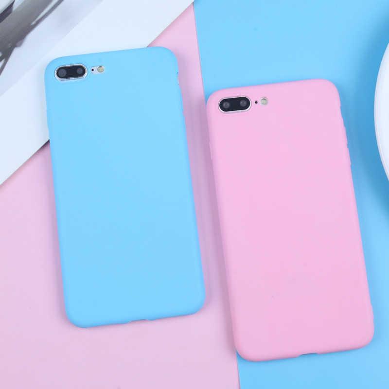 BROEYOUE מט מקרה עבור iPhone 5S X XR 7 8 6 6 S בתוספת 5 SE XS מקסימום צבעים בוהקים טלפון מקרה רך TPU Ultra דק פשוט Funda מכסה
