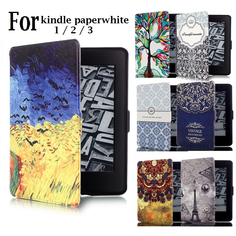 Cartoon Folio Case for Amazon Kindle Paperwhite 1 2 3 Case Smart Printed Flip 6'' Funda for Kindle Paperwhite 123 Ebook Cover kindle paperwhite 1 2 3 case e book cover tpu rear shell pu leather smart case for amazon kindle paperwhite 3 cover 6 stylus