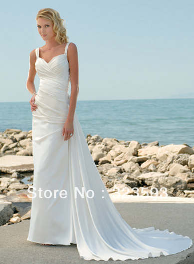 Free Shipping Pleat White Spaghetti Straps Lustrous Satin Beach Wedding Dresses 2013 Floor Length Court Train