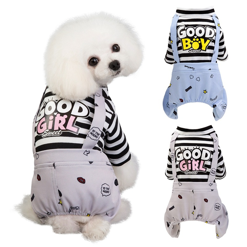 Pet Dog Stripes Rompers Puppy Jumpsuit Cotton Dog Clothes Costume Spring Summer Clothing For Dogs Ropa Para Perros