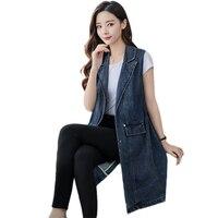 Plus Size 2018 Denim Vests Women Spring Summer Sleeveless Vests Jeans Jacket Vest Female Long Denim Vest Jacket