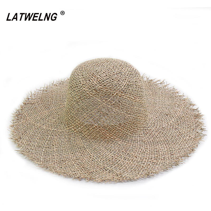 New Trend Women Breathable Green Straw Beach Hats Fashion Dome Top Visor Cap Ladies Summer Sun Hat Dropshipping Wholesale