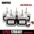 Nema17 Motor paso a paso para 3D impresora envío gratis 5 unids 4-plomo 48mm/78Oz-in 1.8a motor Nema 17 42 BYGH 1.7A (17HS8401) motor