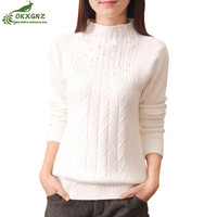 Autumn Winter New Women Short Sweater Jacket Half High Collar Warm Knit Coat Women Hedging Primer