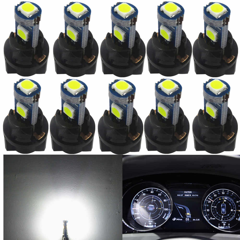 WLJH 10x T5 LED Wedge Bulbs Canbus 74 73 Auto Car LED Gauge