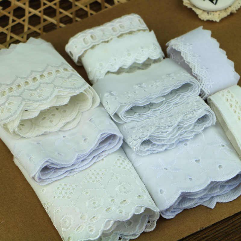 10 m/lot 2-12 cm biała bawełniana haftowana koronka handmade akcesoria odzieżowe DIY koronki