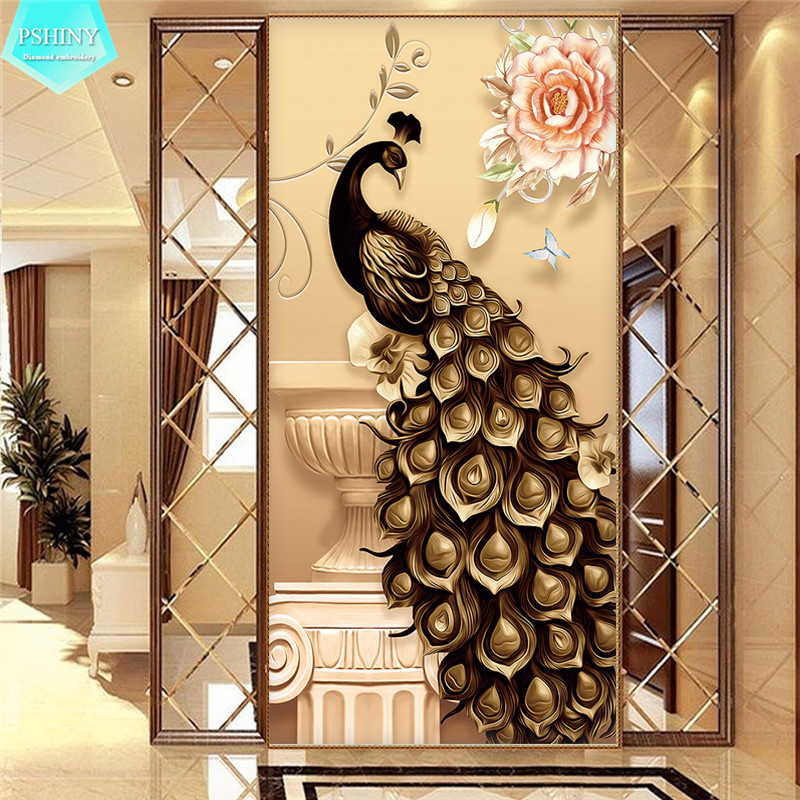 PSHINY 5D DIY Full drill Square Diamond embroidery sale Peacock Diamond Painting animals round rhinestones pictures new arrivals