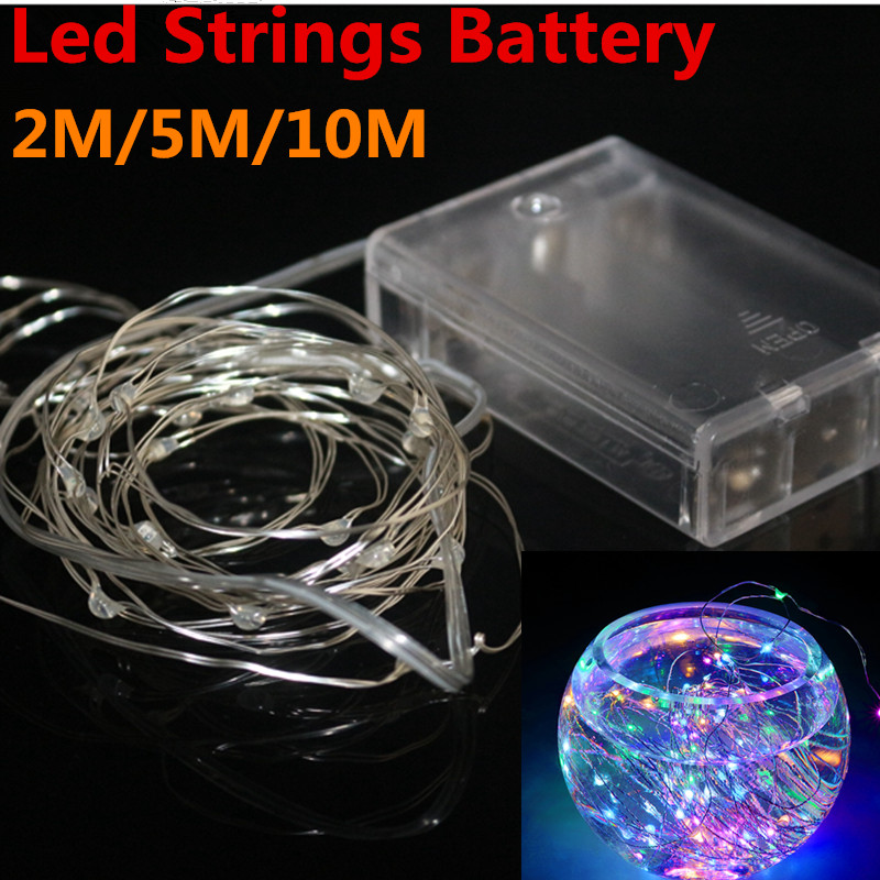 Battery Led String Light 2m 20led 5m 50led 10m 100led 3pcsaa Battery Operated Outdoor Indoor