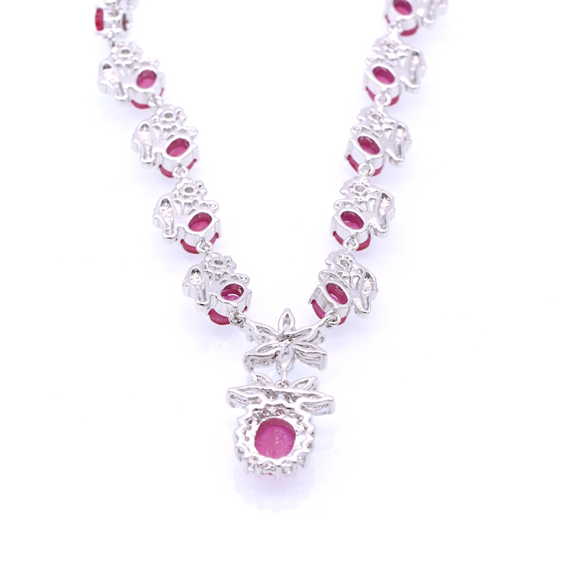 JINYAO Luxury Bride Wedding Jewelry Set for Women Flowers White Gold Color Red Zircon Necklace Earrings Party Set indian jewelry