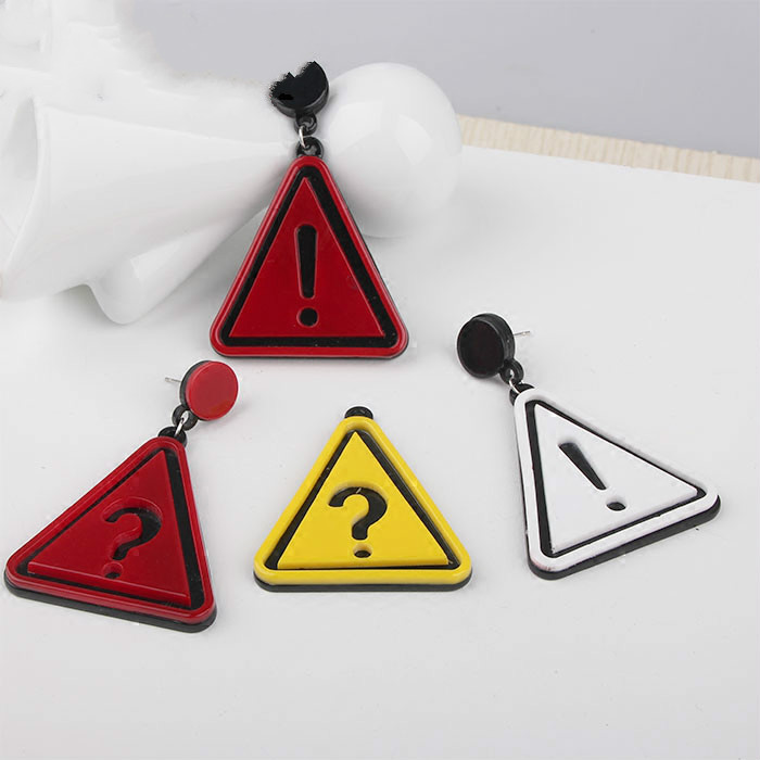 Diy handmade European and American exaggerated red and white yellow exclamation question mark Korean fashion earrings material