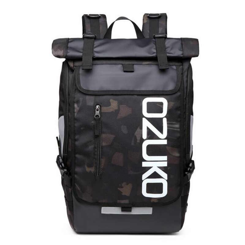 OZUKO Ransel pria Laptop Desainer Ransel Berkualitas Tinggi Ransel Pria Travel Tahan Air besar 15.6 Inch Notebook Anti Pencurian