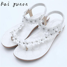 kai yunon Summer Bohemia Sweet Beaded Sandals Clip Toe Sandals Beach Shoes Sep 12
