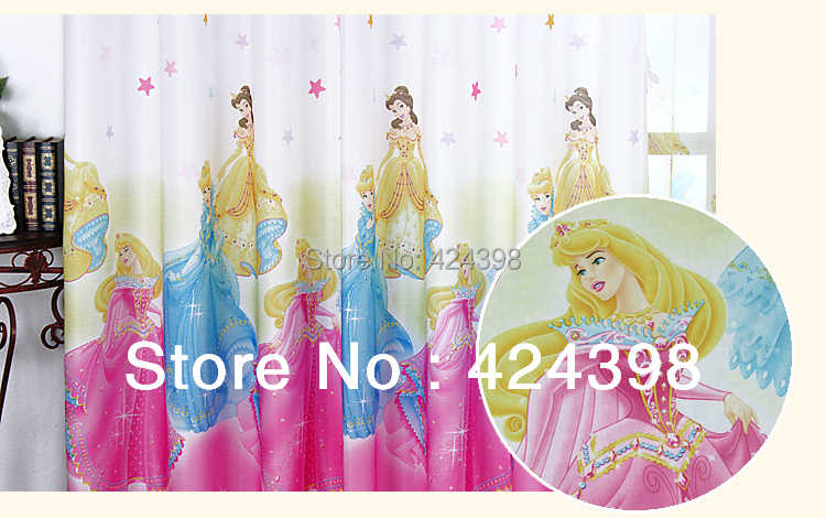 modern kids curtains for windows  printed child bedroom curtain girl  cartoon Living room Snow White princess curtains pink