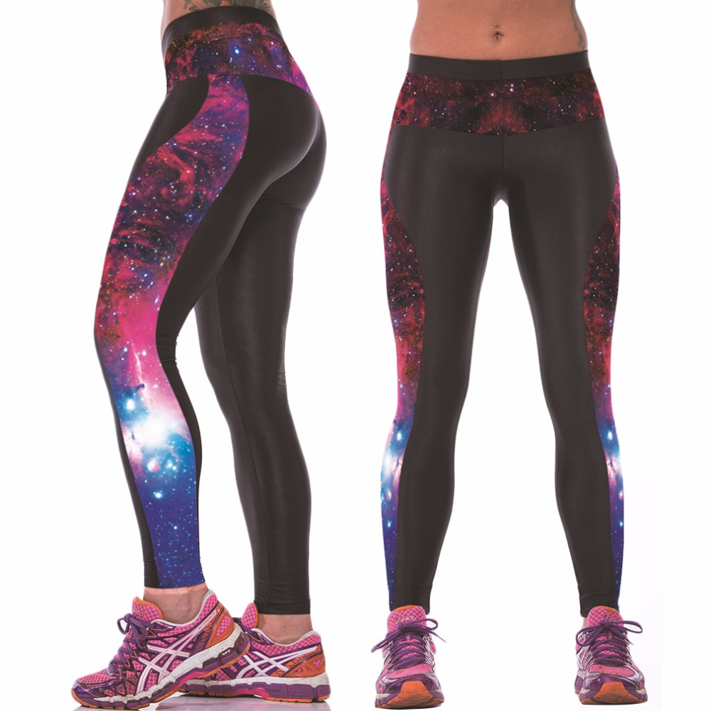 Wholesale Sexy Womens YOGA Workout Gym Digital Printing Sports Compression Elastic Pants Fitness Stretch Long Trouser Leggings