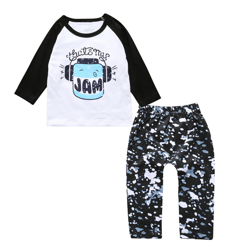 2017 New Summer Baby Boys Clothes Music Pattern Long Sleeve T-Shirt +Polka Dot Pants 2pcs Infant Girl Clothing Set Newborn Suit 3pcs set newborn infant baby boy girl clothes 2017 summer short sleeve leopard floral romper bodysuit headband shoes outfits
