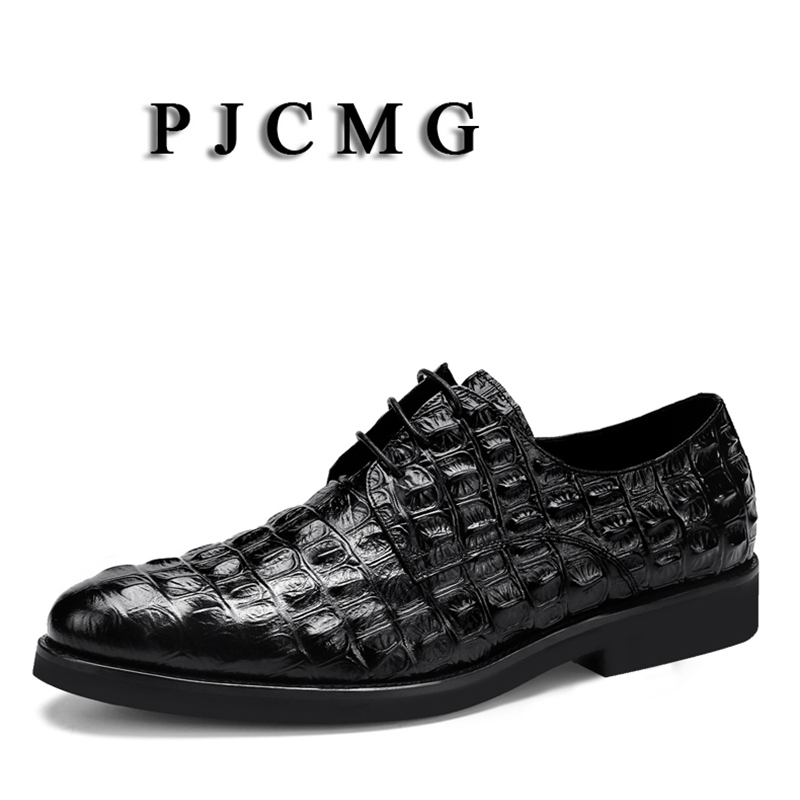 PJCMG New Fashion Crocodile Design Handmade Genuine Leather Lace-Up Pointed Toe Black/Red Business Solid Dress Men Oxford ShoesPJCMG New Fashion Crocodile Design Handmade Genuine Leather Lace-Up Pointed Toe Black/Red Business Solid Dress Men Oxford Shoes