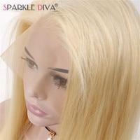 Блеск Дива перуанский человеческих волос 130% плотности чистого 613 полная блондинка парики, кружева с волосами младенца отбеленные узлы Бесп
