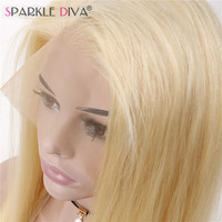 Sparkle Diva Peruvian Remy Human Hair 130% Density Pure 613 Blonde Full Lace Wigs With Baby Hair Bleached Knots Free Shipping