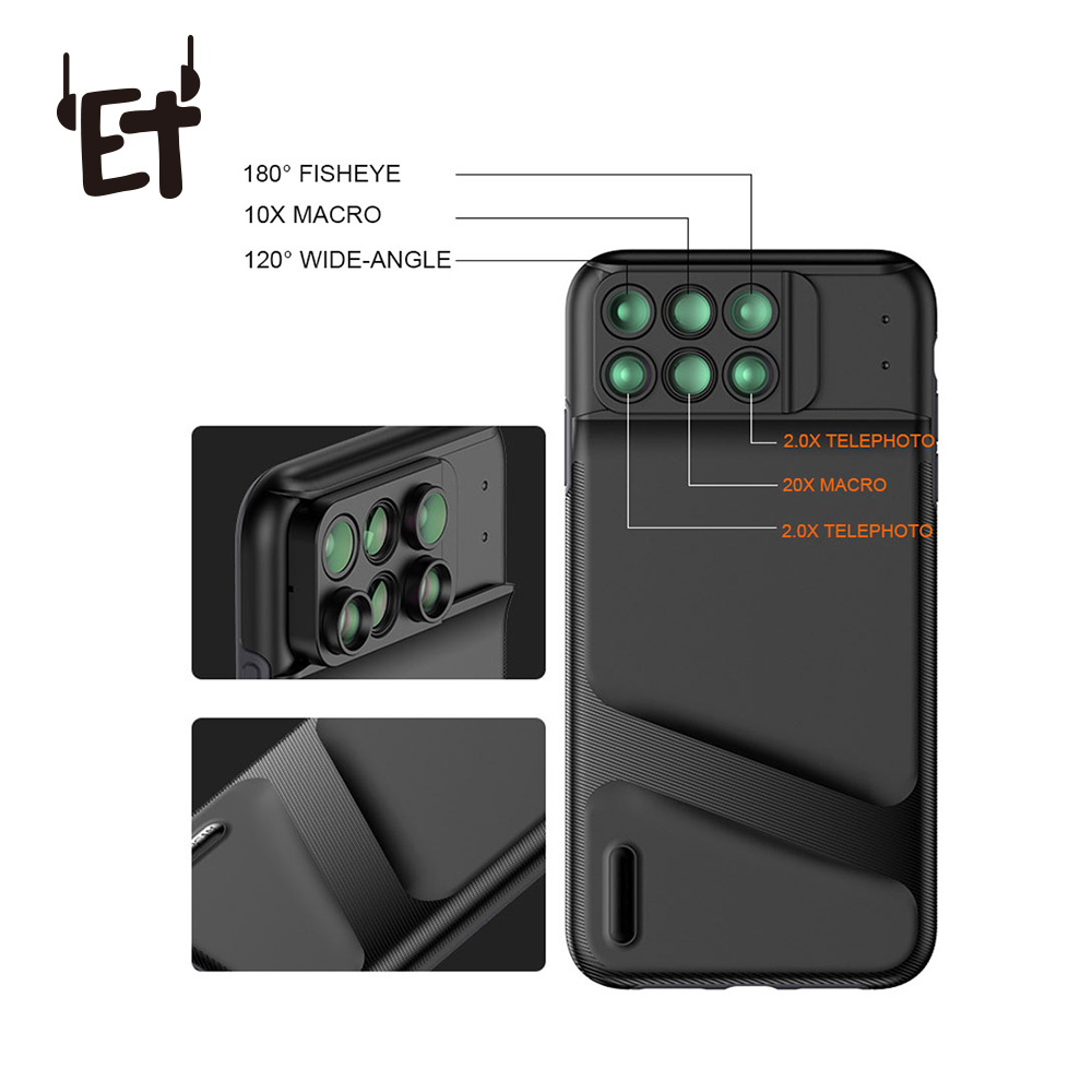 ET Camera Lens Phone Case for iPhone XR XS Max Fisheye Wide Angle Macro Lens Phone Cover Mobile Phone Lensese Case Full Coverage
