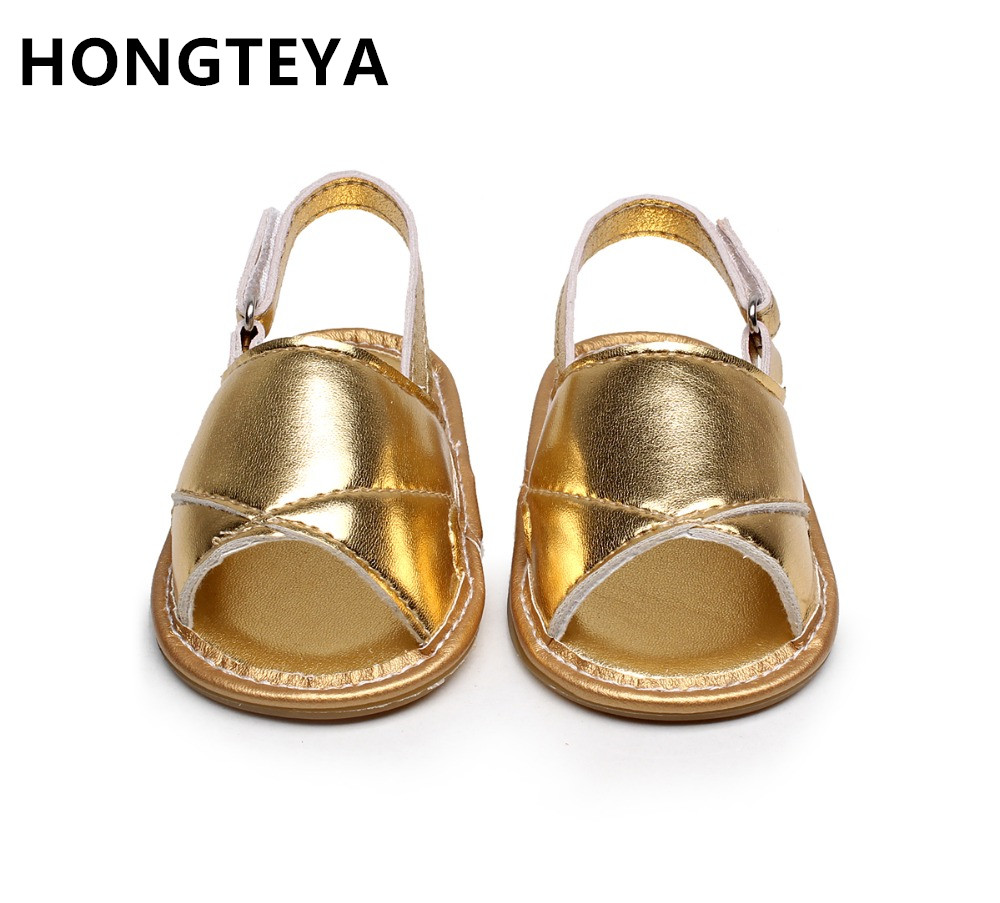 HONGTEYA Infant Toddler Summer Girls Boys Sandals PU Leather Baby Sandals Moccasins Rubber Sole First Walkers Shoes