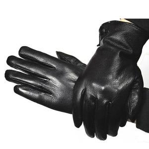 Image 2 - Gants en cuir Deerskin pour hommes, nouvelle collection, automne et chaleur dhiver en fausse fourrure de lapin épaisse, pour conduite en plein air