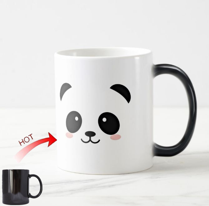 Kawaii Panda Magic Mug Cute Panda Bear Face Heat Color Change Creative Pandas Animal Kid Gifts