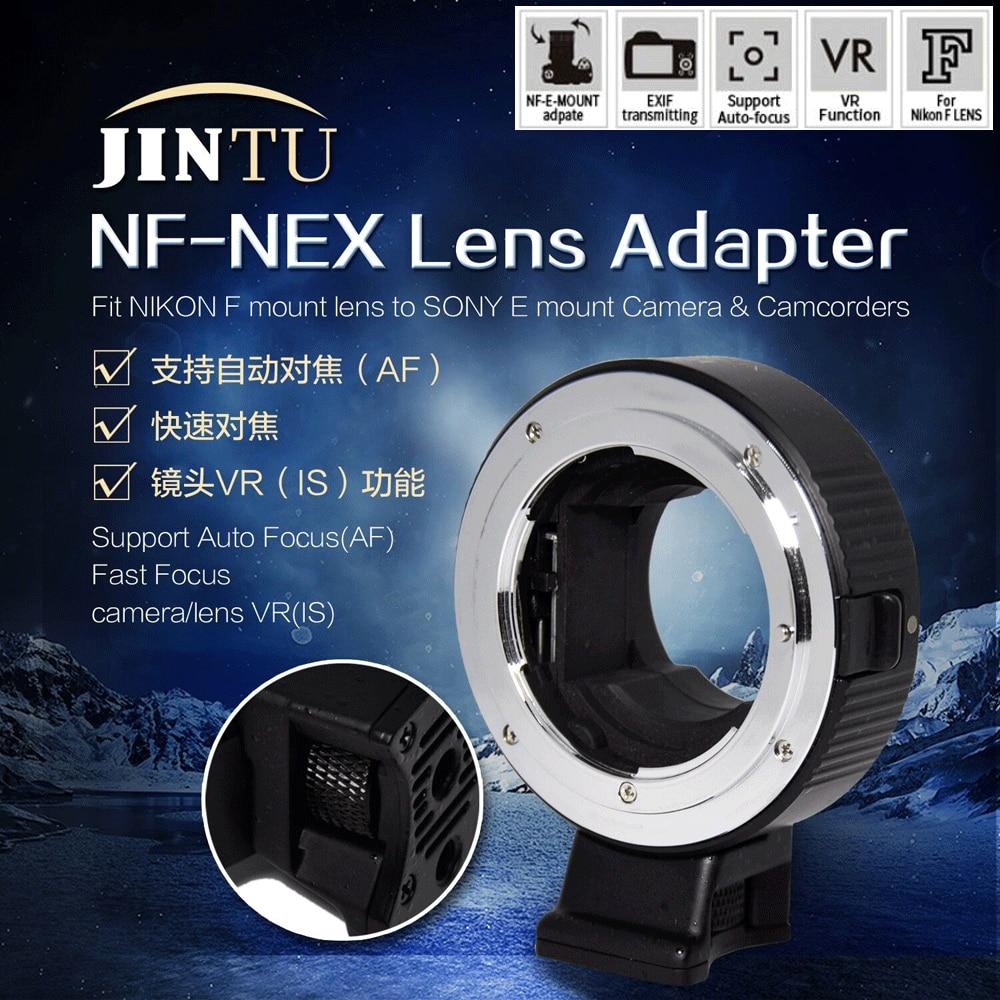 JINTU NF-NEX Auto Focus Lens Mount Adapter pour Nikon F-Monture pour Sony E-mount NEX 3 NEX5 NEX6 NEX7 A5000 A6000 A6500 Caméra