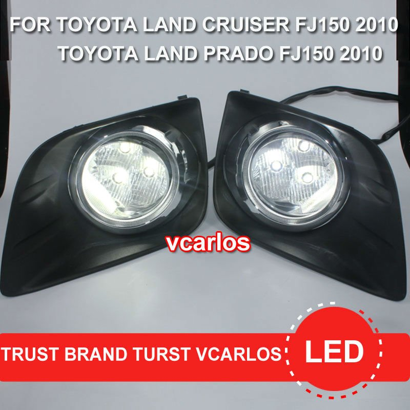 Vcarlos top quality LED fog lamp with harness, wiring kit and switch for Toyota land cruiser prado FJ150 2010 for opel astra h gtc 2005 15 h11 wiring harness sockets wire connector switch 2 fog lights drl front bumper 5d lens led lamp