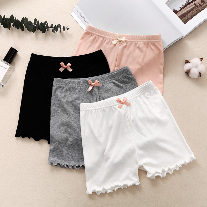New Girls Shorts Modal Princess Bow Ruffle Children Saft Short Pants Soft Candy Color Boxer Short Leggings Kids Clothing