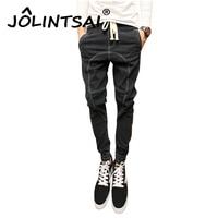 Plus Size 3XL Jeans Men 2017 Spring Harem Pants Denim Drawstring Biker Jeans Hiphop Pants Washed Black Robin Jeans For Men