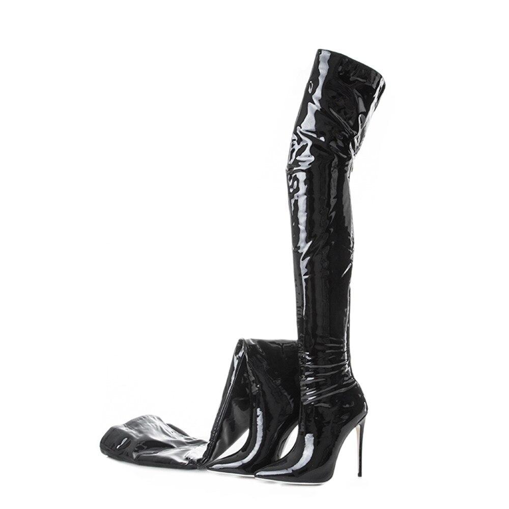 Cuissardes 2 Roviciya Sexy Pointu Wj155 Bottes Sur Genou Haute Black Chaussures Talons Femmes Bout Le Noir Zipper Stiletto Cm 12 black Femme 1 qUZ7RxT