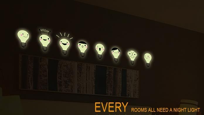 Maruoxuan luminous wall sticker light bulb lamp diy wallpaper a set maruoxuan luminous wall sticker light bulb lamp diy wallpaper a set kids bedroom fluorescent glow in the dark home wall decor in wall stickers from home aloadofball Image collections