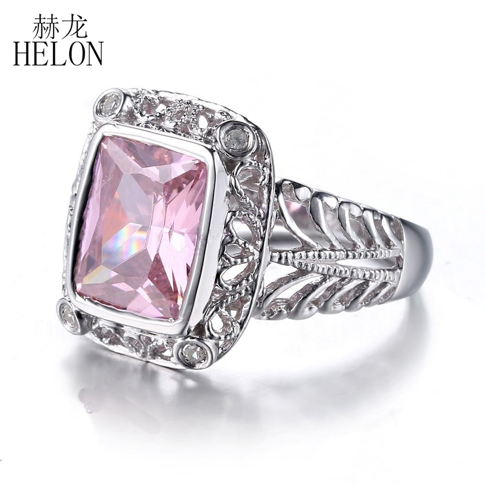 HELON Sterling Silver 925 Cushion cut 10x8mm 5ct 100% Genuine Pink Topaz Fine Ring Natural Diamonds Women Fine Jewelry Ring helon sterling silver 925 flawless 11x9mm emerald cut 4 36ct real blue topaz natural diamond engagment wedding ring fine jewelry