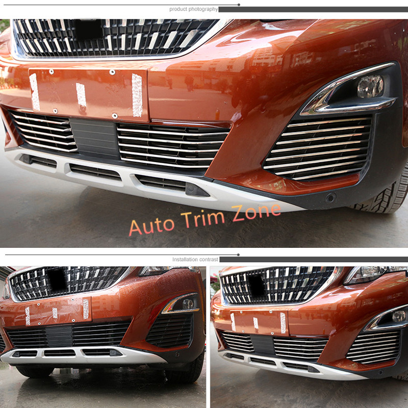 26PCS Stainless Steel Outer Front Bumper & Fog Lamps Mouldings For Peugeot 3008 GT 2017 26pcs stainless steel outer front bumper