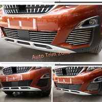 26PCS Stainless Steel Outer Front Bumper & Fog Lamps Mouldings For Peugeot 3008 GT 2017