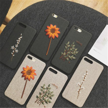 Fashion 3D Relief Embroidery Cloth Texture Cases For iPhone X Flower Dattern Cover 8 7 6 6S Plus XS XR MAX Funda