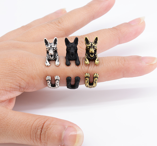 real picture punk vintage 3d german shepherd puppy dog wrap ring anillos boho chic anel rings