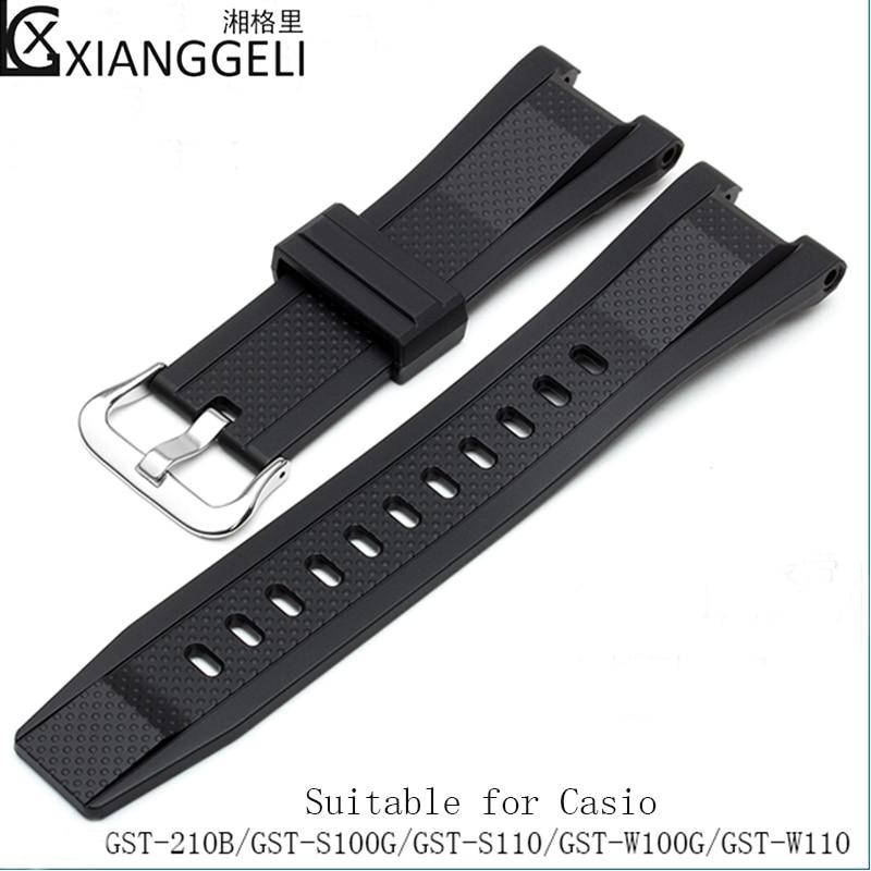 Accessoires de montre pour Casio GST-W110/210B/S110/S100G/W110G résine noire homme sports de plein air bracelet étanche