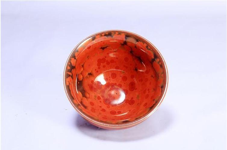 Jianzhan Flaming Phenix Hot Tea Cups Red Tenmoku Glaze for British Tea Time Tea Ceremony Porcelain Bowl