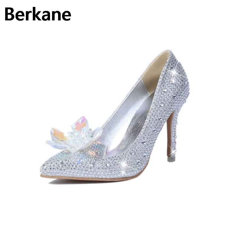 Rhinestone Cinderella Shoes Wedding For Women High Heels Crystal Adults Decoration Glass Pumps Party Casual Sapato Feminino Hot