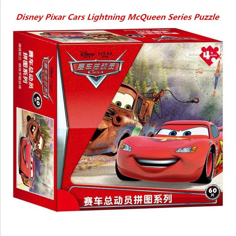 Caliente princesa de Disney caja Puzzle 48/60 coches de PCs Rayo mcqueen Mater papel de chico chica crear imaginación, regalo de los niños 3D puzle bebé juguetes de madera juguetes educativos para primera infancia atrapa gusano juego de Color de fresa capacitativa capacidad de agarre divertido