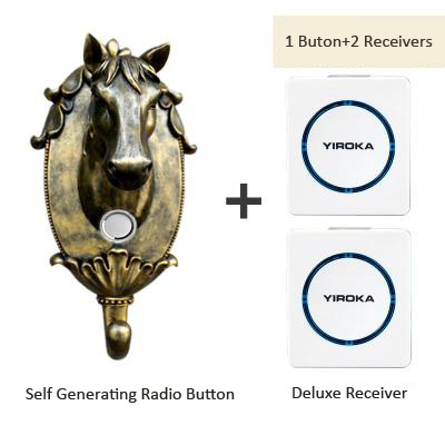 Doorbell wireless home without battery electronic remote control waterproof 1 button+2 receivers,free shipping 2 receivers 60 buzzers wireless restaurant buzzer caller table call calling button waiter pager system