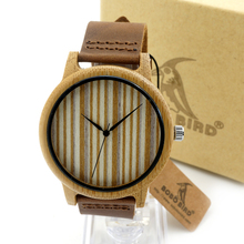 BOBO BIRD A21 Bamboo Wooden Watches Brand Designer Soft Leather Band Wood Dial 2035 Quartz Watch Lovers accept OEM Customize