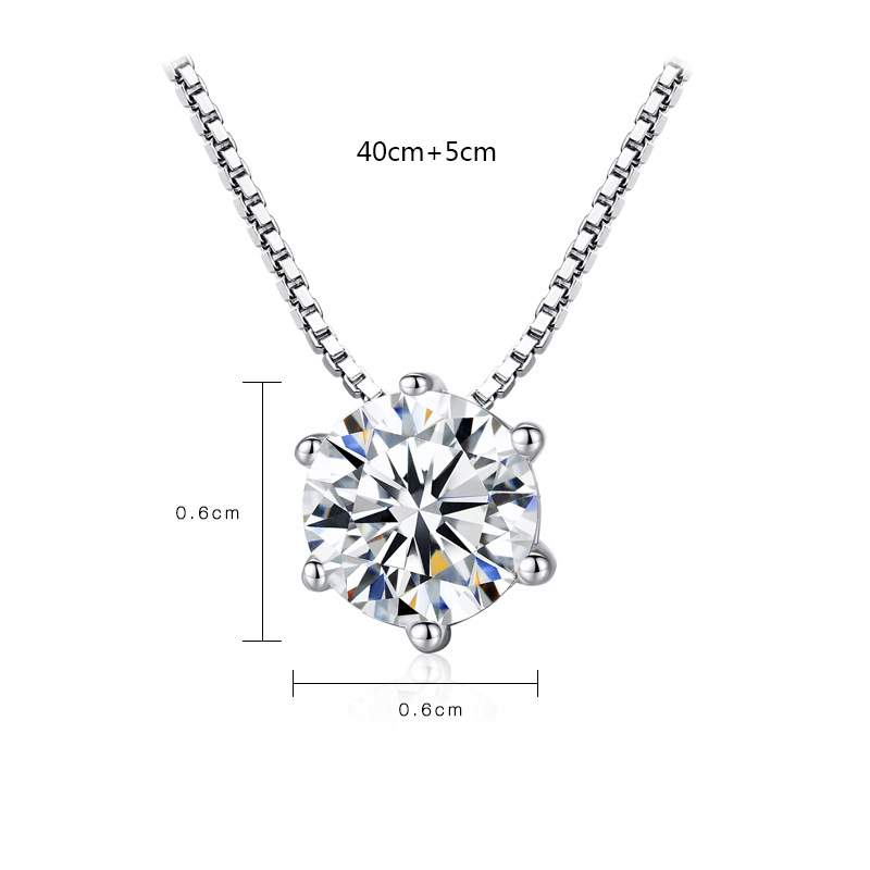925 Sterling Silver Six Claw Shiny Crystal Ladies 39 Chains Necklaces Female Birthday Gift Women Fashion Jewelry Wholesale in Chain Necklaces from Jewelry amp Accessories