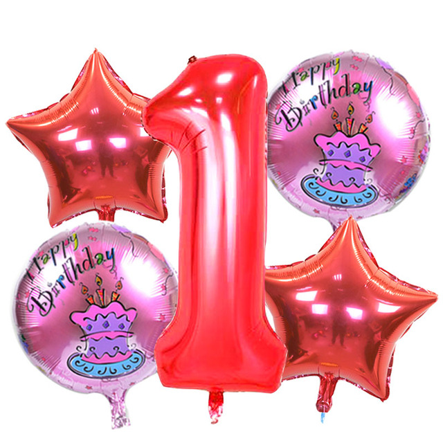 5 Pieces Baby 1st Birthday Balloons Set Black Number Foil BalloonsBirthday Party Decorations Kids Boy Girl Decoration