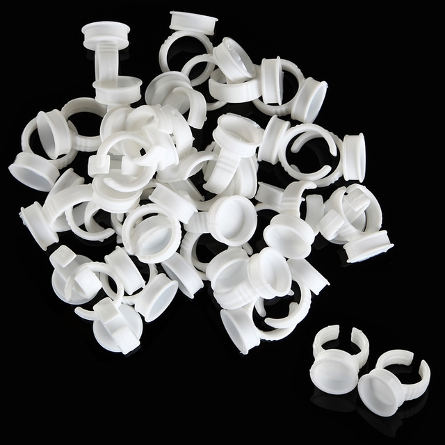 15mm Disposable Eyelash Extend Ring Cup Tattoo Pigments Ink Ring Cups Set Tattoo Equipment Pigment Holder Container 40pcs/pack