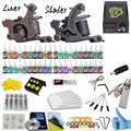Professional tattoo kit 2 guns machines 40 ink sets power supply Complete Tattoo kits 8 wrap coils guns machine cheap tattoo kit