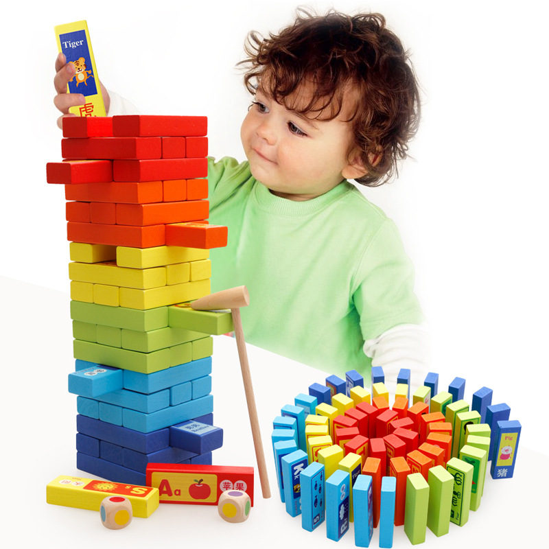 MWZ 60pcs Kids Classic Game Multicolor Stacking Blocks Zodiac Cognitive Tumbling Tower Toys Intelligence Development Fun Toy mwz 54pcs wooden tumbling stacking tower block board game fro adult children