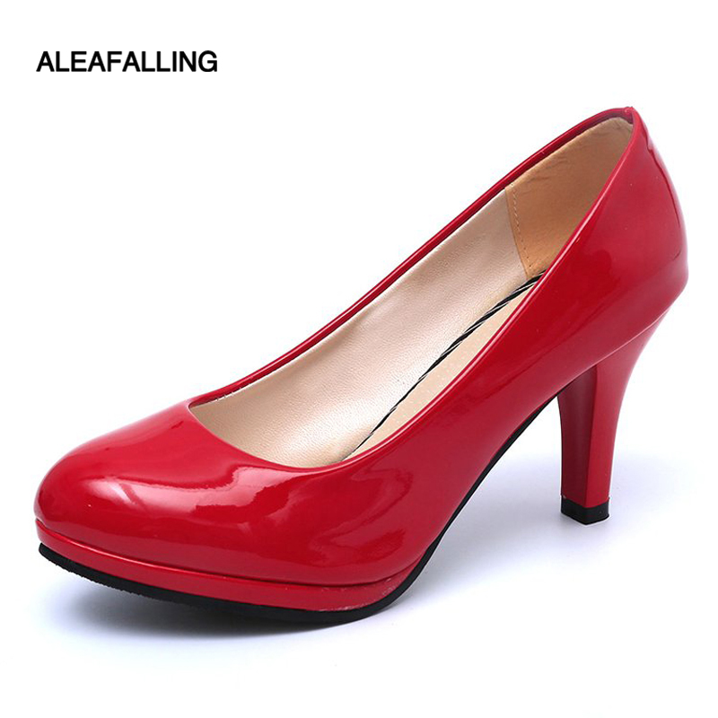 Aleafalling Lady High Heels Round Toe Women Pumps 9cm Heel Colorful Women Shoes Flock Office Ladies Shoes Sweet Women HeelsPM02 concise flock and round toe design pumps for women