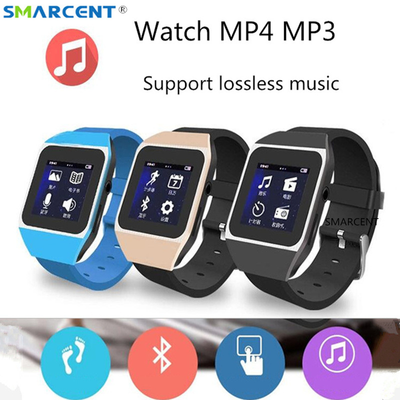 4/8GB MP3 Player Smart Watch Bluetooth Touch Screen Lossless Music Watch Support FM/Pedometer/Ebook/Movie/Voice Recording